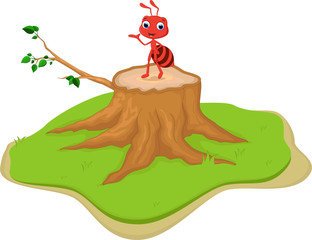 funny red ant cartoon on tree stump