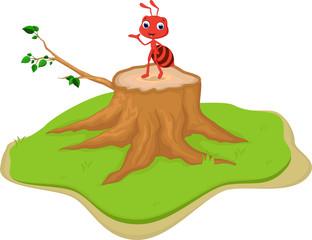 funny red ant cartoon on tree stump