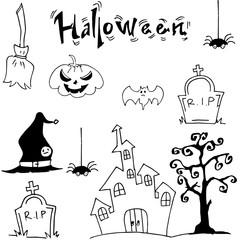 Halloween set castle hat pumpkins tomb