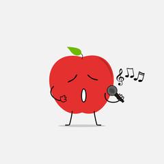 singing apple simple clean cartoon illustration