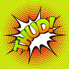 Thud pop art on a background of halftone