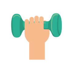 Healthy lifestyle and fitness concept represented by hand holding weight icon. isolated and flat illustration