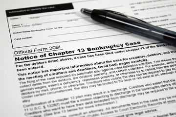 Notice of Chapter 13 Bankruptcy Form & Pen