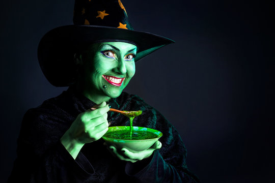 Wicked Green witch at Halloween