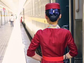 A Chinese Train Conductor in Lanzhou (Gansu Province, China)