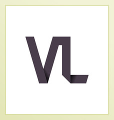 VL Two letter composition for initial, logo or signature.