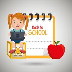 Children using laptop at school design, vector illustration eps10 graphic