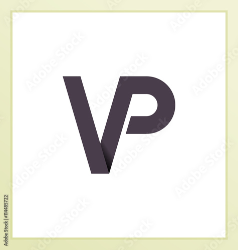 vp two letter composition for initial logo or signature