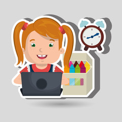 Children using laptop at school design, vector illustration eps10 graphic