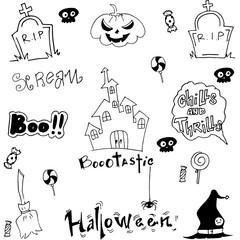 Halloween doodle vector art castle pumpkins