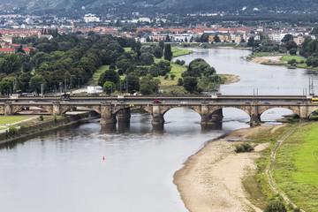 Fototapete - Elbe and the Marienbrücke bridge