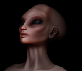 Hybrid alien woman looking upward
