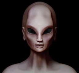 Hybrid alien woman facing forward isolated on black