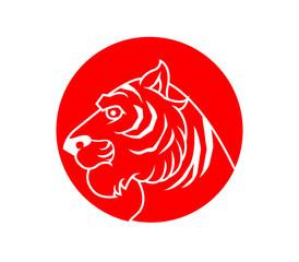 A vector illustration of red stamp tiger