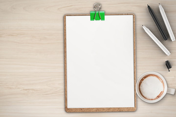 Office desk top White Office Desk Top View With Blank Clipboard On Wooden Table Adobe Stock Office Table Top View