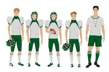 Young guys school american football team with coach trainer. Vector illustration.