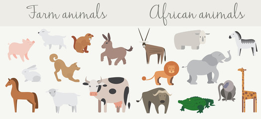 Cute african and farm animals set.
