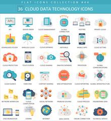 Vector Cloud data technology color flat icon set. Elegant style design.