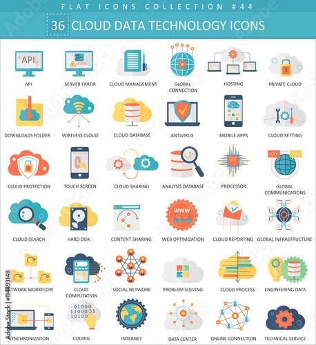 vector cloud data technology color flat icon set elegant style
