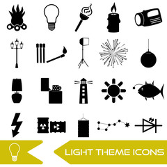 light theme modern simple black icons light source eps10