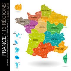 Carte de France 13 régions (nouveaux noms (2016) + départements et outre-mer / un tracé autonome par zone