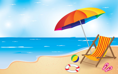 Beach and Umbrella with Chair. Summer Beach Background.