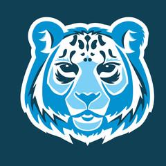 Snow leopard logo mascot. Snow leopard head isolated vector illustration