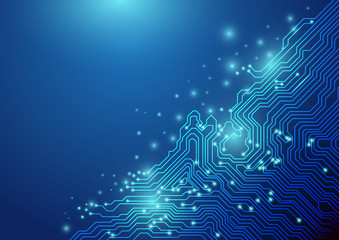 Wall Mural - Abstract lines technology on blue background. chipset concept