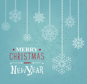 Merry Christmas and Happy new Year lettering design. Vector illustration. Season cards, greetings for social media
