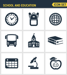 Icons set of premium quality of elementary school objects and education items, learning symbol and student equipment. Modern pictogram collection flat design style. Isolated on white background