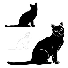 Cat sitting black silhouette vector illustration set