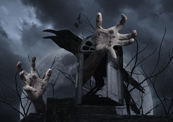 Spooky hand, crow, bat, bird, dead tree and vintage window over