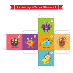 Cute Monster Cube Craft
