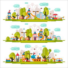 Kids Playground drawn in a flat style