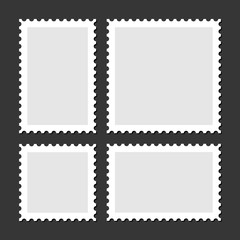 Blank Postage Stamps Set on Dark Background. Vector