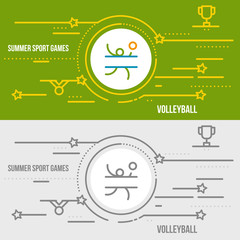 Horizontal banner of summer sport games.