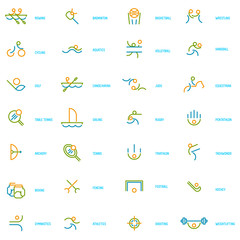 Thin line icons set of summer sport games.