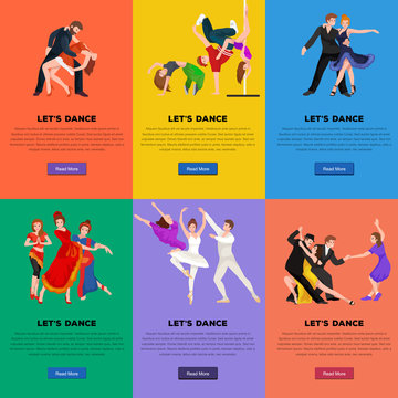 Vector illustration of couple dancing modern dance, Partners dance bachata, Dancing style design concept set, traditional dance flat icons isolated vector illustration, Man and woman ballroom dancing.