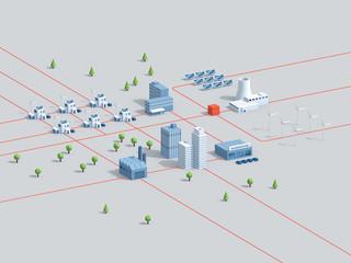 Smart Grids – intelligente Stromnetze: 3d-Illustration