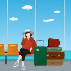 Woman with Luggage Talking on the Phone in a Waiting Room, Waiting Hall with Woman, Travel and Tourism Concept, Flat Design, Vector Illustration