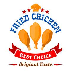 Fast food fried chicken legs badge for menu design