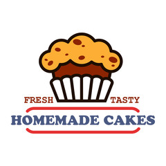 Homemade cakes and pastries sign for bakery design