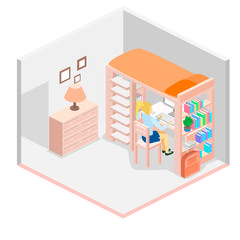 Isometric workplace for child. child Room. Loft bed with table chair and books. Flat 3D illustration.