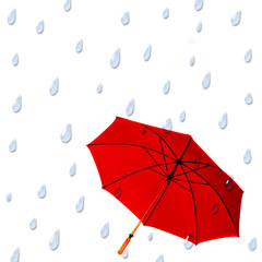 Background with large raindrops falling on large red umbrella.