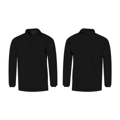 black polo with long sleeve isolated