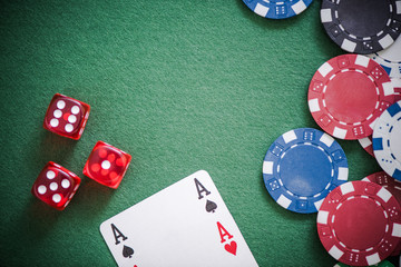 playing cards,dices and poker chips