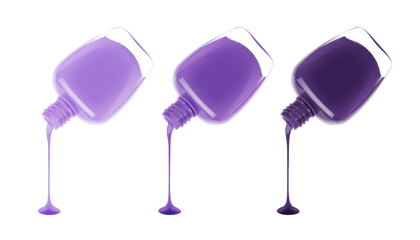 Set of nail polish leaking out of the bottle. Maniqure and pediqure varnish. Vector illustration