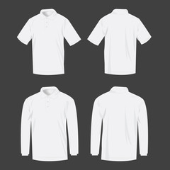White polo shirt and polo with long sleeve isolated vector set