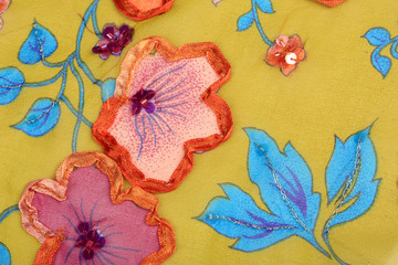 colored flowered fabric