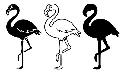 Vector Image Of Silhouette Flamingoes